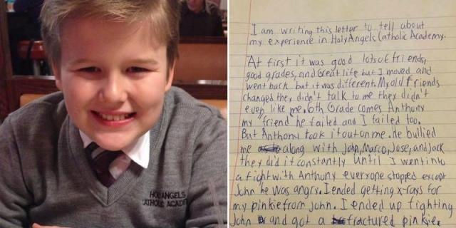 La carta de un niño antes de suicidarse por sufrir bullying