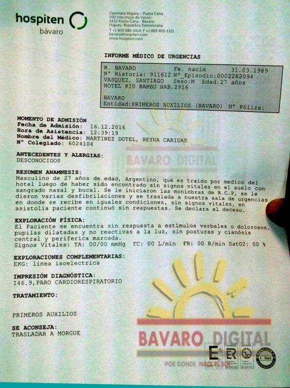 El informe médico sobre la muerte del hermano de Nico Vazquez
