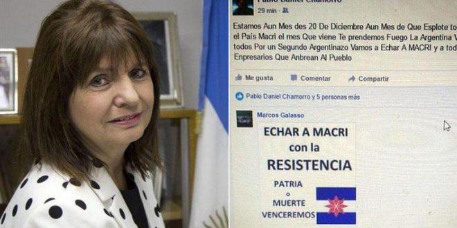 Patricia Bullrich denunció que el partido Miles de D'Elía promueve los saqueos