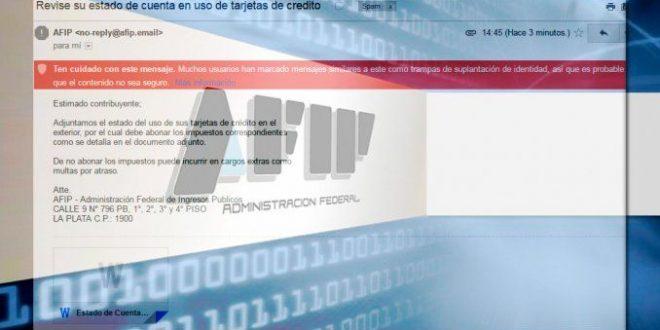 Alerta por estafa con falsos correos que parecen de AFIP
