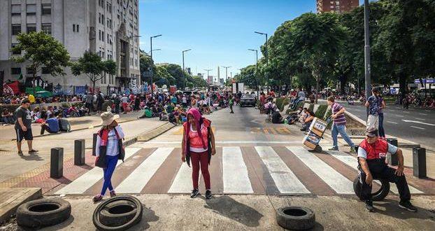 Mapa con los cortes de calles que realizan los movimientos sociales