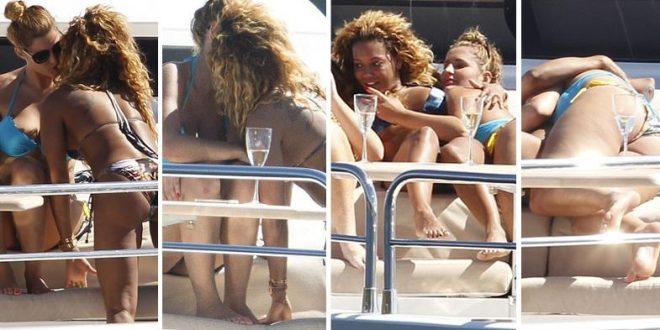 Ex Spice Girls a los besos y mimos apasionados con dos chicas y su marido