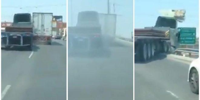 Video: Tráiler pierde el control y cae de un puente