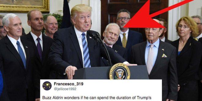 Video: Las expresiones faciales del astronauta Buzz Aldrin al escuchar a Donald Trump hablar sobre el espacio.