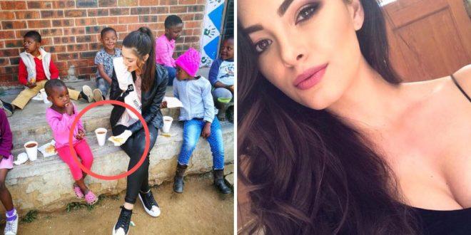 Miss Sudáfrica usa guantes en la visita a orfanato de niños con VIH