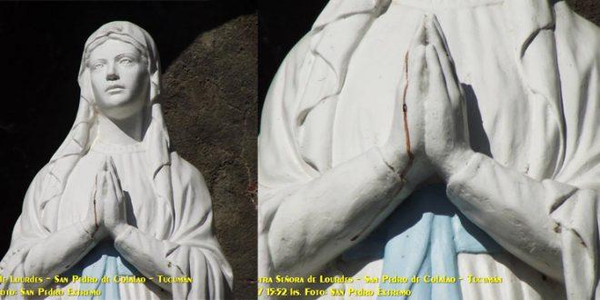 Se develó que es de la sangre en las manos de la Virgen de San Pedro