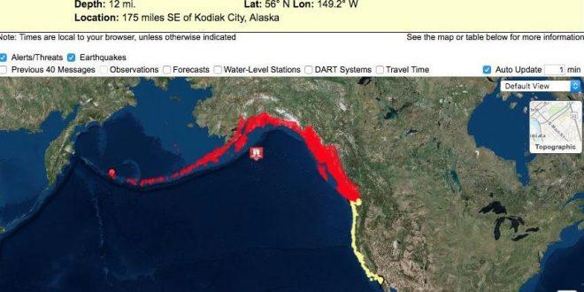 Hubo alerta de tsunami tras potente sismo en Canadá y EE.UU.
