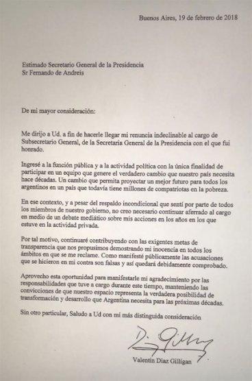 La carta de renuncia de Valentín Díaz Gilligan