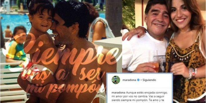 """Diego Maradona a Gianinna : """"Aunque estés enojada, mi amor por vos no cambia"""""""