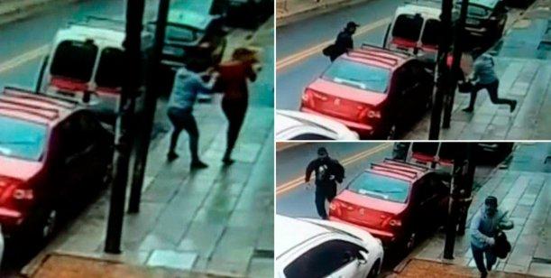 Video: Casi le rompen la cabeza para robarle la cartera