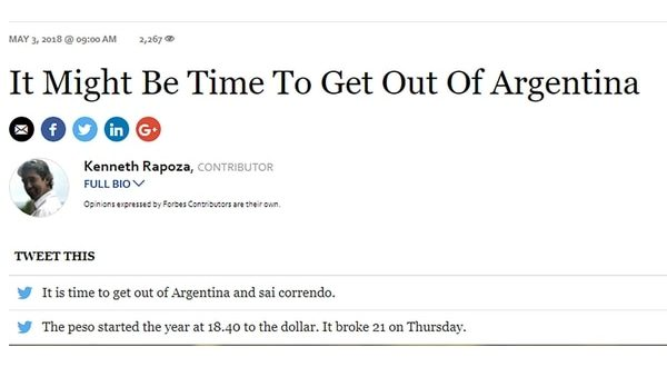 """Forbes a los inversores : """"It might be the time to get out of Argentina"""""""