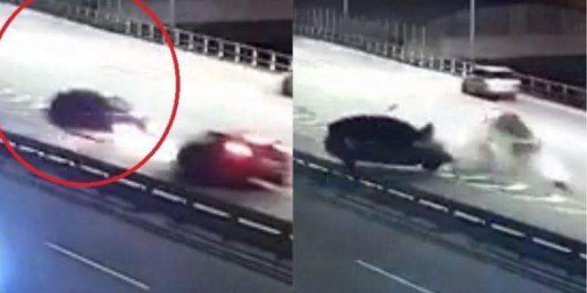 Video: Subió a la autopista 25 de mayo en contramano y chocó de frente