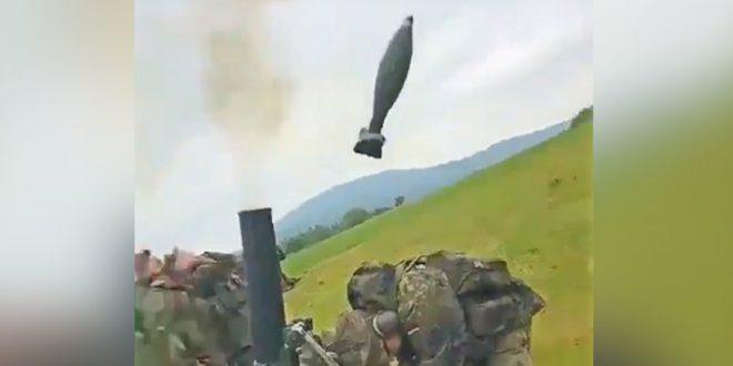 VIDEO: Disparan un proyectil de mortero, pero algo salio mal