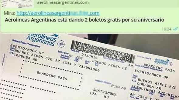 Alerta por posible estafa WhatsApp con una promo tentadora de Aerolíneas Argentinas