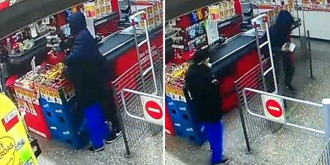 Video: Roba un supermercado y toma de escudo a una nena