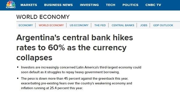Los medios del mundo destacan la caida del peso argentino