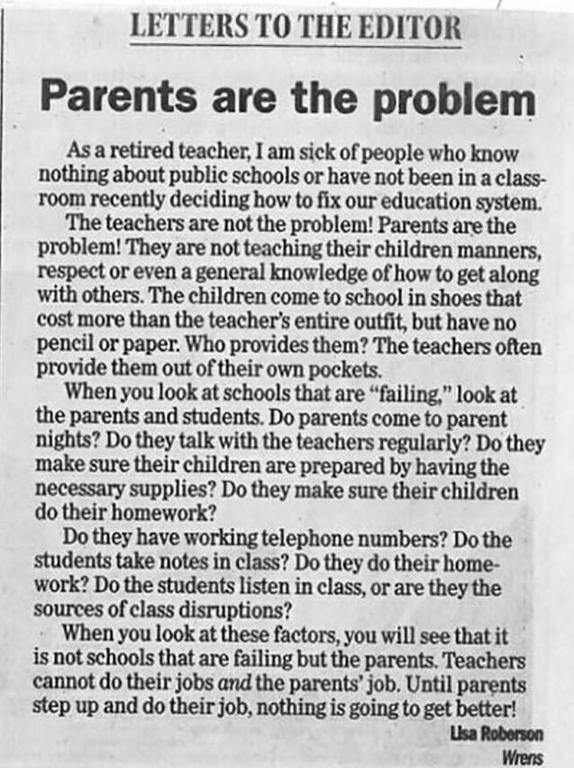 """Carta de una profesora jubilada : """"Los padres son el problema"""""""