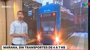 El martes a la mañana no habrá transportes: no funcionarán trenes, colectivos ni subtes
