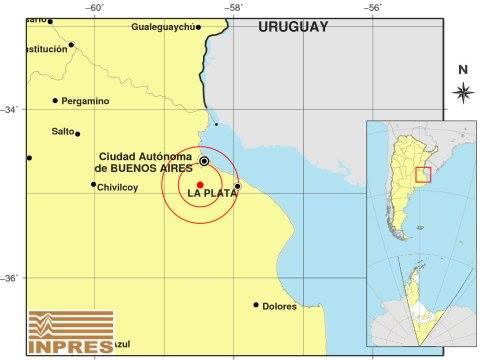 Se produjo un sismo de 3.8 a a 32 kilómetros al sur de la Ciudad de Buenos Aires, a las 10.27 de la mañana