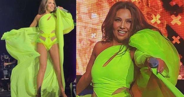 Video:  Una falla técnica la dejó a Thalia expuesta en pleno show