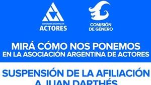 La Asociación Argentina de Actores suspendió a Juan Darthés
