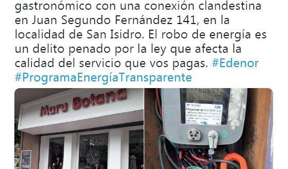 Edenor acusa a Maru Botana de robar energía en uno de sus locales