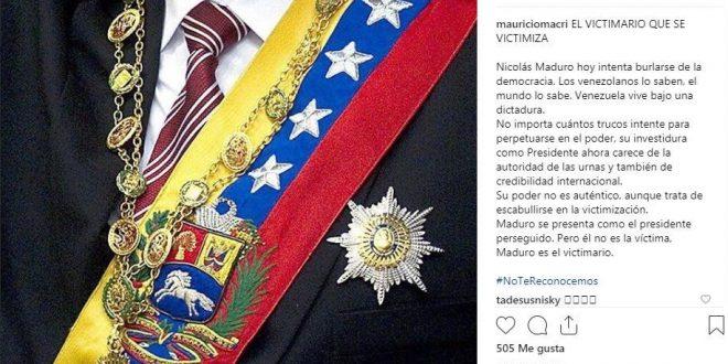 """Macri no reconoce a Maduro: """"Venezuela vive bajo una dictadura, su poder no es auténtico"""""""