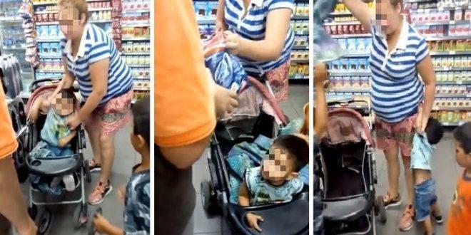 Video : Usa a sus propios hijos para robar en el supermercado y encima se enoja y los maltrata