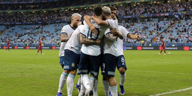 Argentina le ganó a Venezuela 2 a 0 en el estadio Maracaná y jugará la semifinal con Brasil