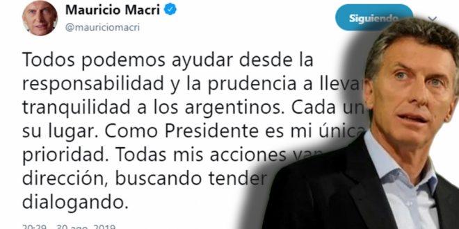 """Macri """"Todos podemos ayudar desde la responsabilidad y la prudencia a llevar tranquilidad a los argentinos"""""""