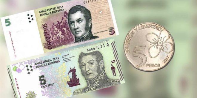 El viernes próximo dejan de circular los billetes de 5 pesos