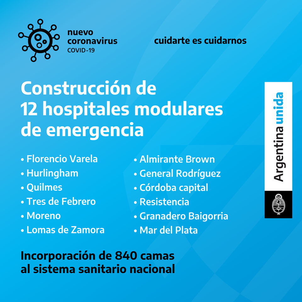 El Gobierno puso en marcha la construcción de 12 Hospitales Modulares de Emergencia para incorporar 840 camas al sistema sanitario nacional