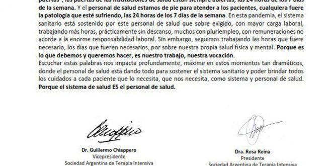 La respuesta de la Sociedad Argentina de Terapia Intensiva al Presidente