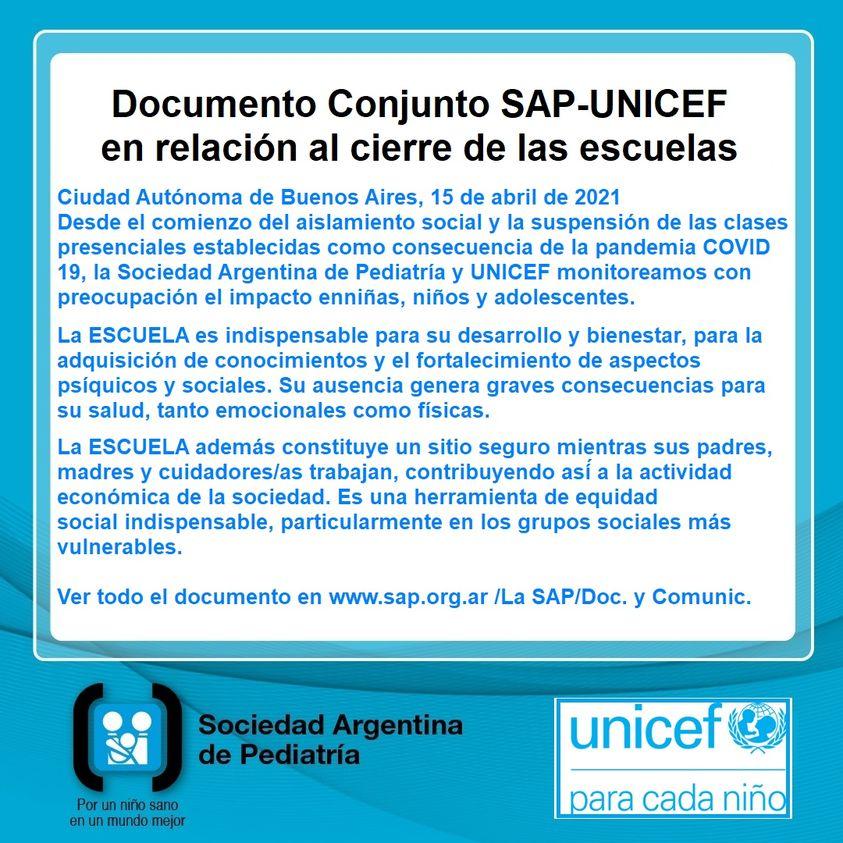 Comunicado SAP - UNICEF Argentina en relación al cierre de escuelas